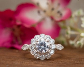 Art Deco Engagment Ring, Wedding Ring, Flower Ring, Cluster Ring, Vintage Inspired Engagement Ring, Diamond Simulants, Sterling Silver