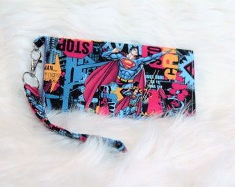 handmade superman wristlet with detachable strap