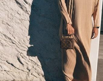 Camel pleated dress , long sleeve.
