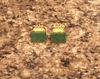 Gold Plated Jade Cuff Links