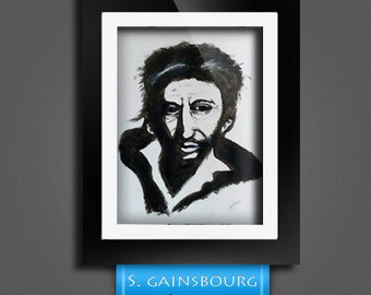 Portrait serge Gainsbourg acrylic
