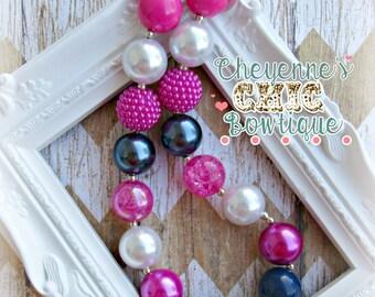 Pink, Navy, White Bubblgum Necklace