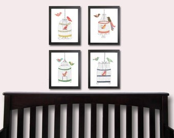 Printable nursery art, INSTANT DOWNLOAD Digital print, vintage birdcage art, children's print, children's decor, birdcage prints