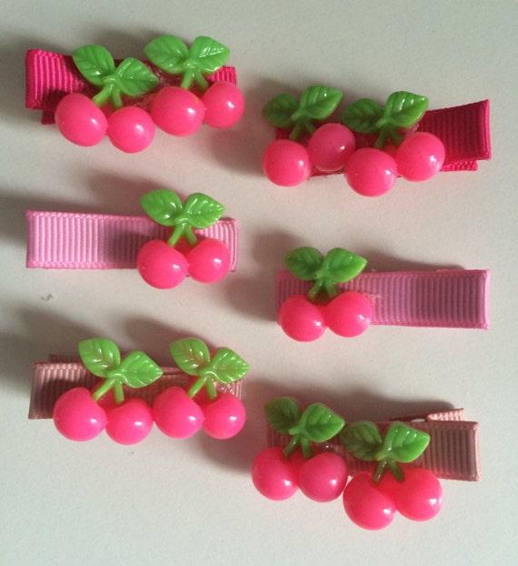 Pink Cherry Hair Slides - Set of 6