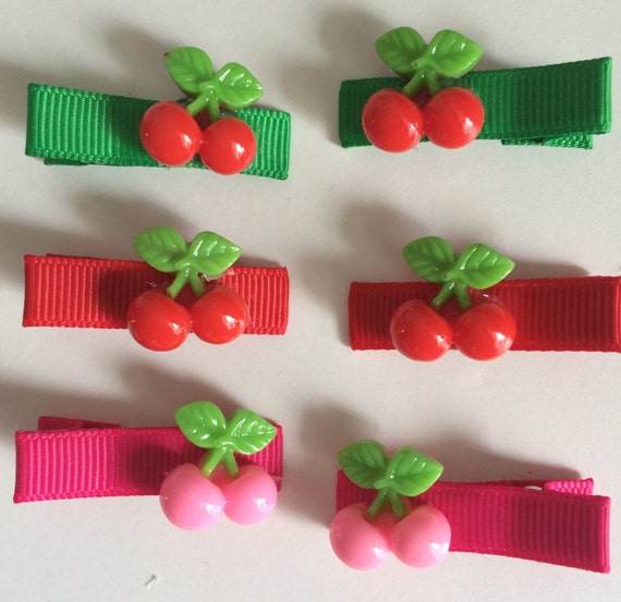 Cherry Hair Slides - Set of 6