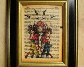 DragonBall Z DragonBall GT Art Print on Vintage Dictionary Page