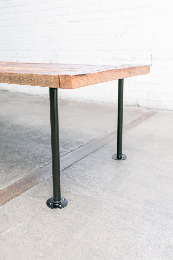 """16"""" Industrial Pipe Table Legs (I-Style, Black Zinc Plated) - 1"""" Outer Diameter Pre-Finished Gas Pipe - NO Rust, NO Oil Mess - Set Of 4 Legs"""