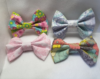 Floral patterned hair bows, hair clips, hair accessories, fabric hair bows, fabric hair accessories