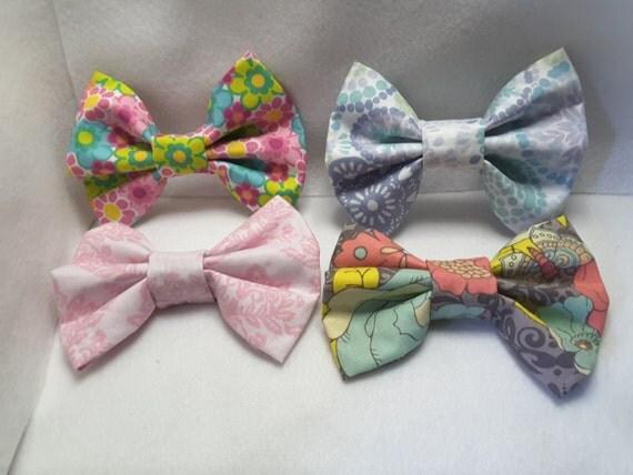 Floral patterned hair bows, hair clips, hair accessories, fabric hair bows, fabric hair accessories