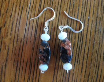 White Glass and Sandstone Sterling Silver Ear Hook Earrings
