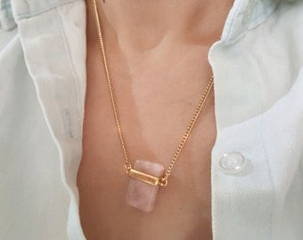 rose quartz necklace , stone necklace/ 18k Gold, Silver /  layered necklace / wedding jewelry , Gift ,  custom necklace