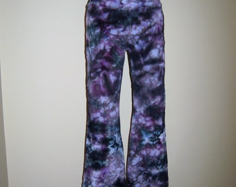 Yoga Pants Custom Ice Dye Purples and Teals and blues Activewear Casual Wear Everyday wear Womens Gift