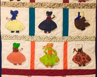 Dutch Girl Lap Quilt - 55.5 inches wide x 68 inches long
