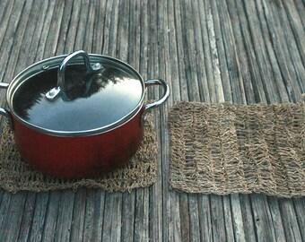 2x Hemp Trivet / Doily Small Decorative Handmade Crochet Pure Raw String