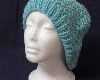 Teal hand-knit beanie