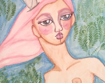 Mystical girl, 12x16 original framed