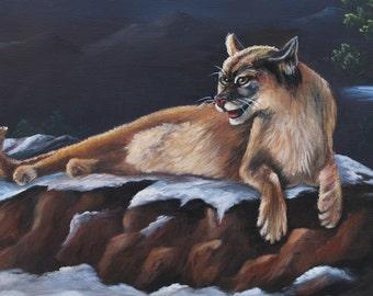 Mountain Lion Oil Painting, Mountain Lion Art, Painting of Mountain Lion, Safari Art, Home Decor, Wall Art