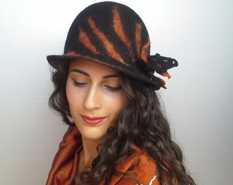 Felt hat, hat, hat, hat brim black orange wool, Gitana