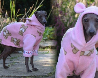 Italian greyhound clothing-hoodie with ears made from soft, warm, anti-pill, with teddy bear print fleece by UniDog