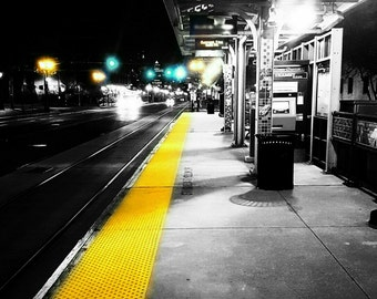 Light Up Black and White Wall Art - Train Station - Colorsplash - 24x36 inch*