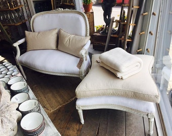 Antique French Settee with Matching Footstool.