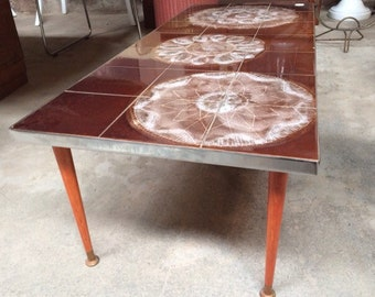 1960's glazed tiled coffee table.