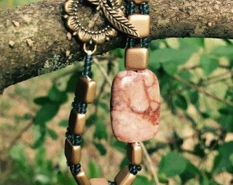 Beaded Bracelet Gold and Pink Bracelet