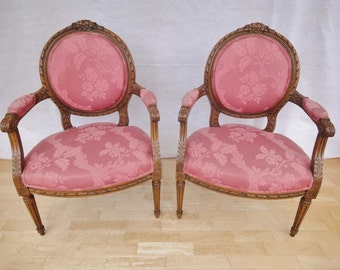 Pair of Antique Style French Louis XV Carved Mahogany Arm Chairs