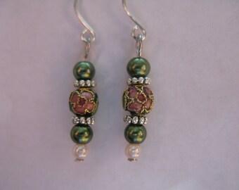 green cloisonne earrings