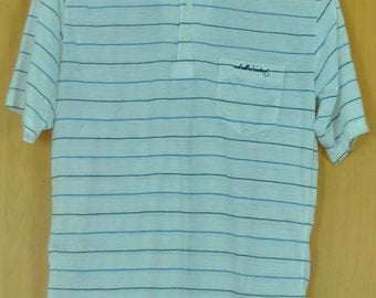 Vintage Tom Weiskaff T Shirt Stripe Shirt White Shirt Awsome Shirt Medium Size