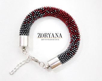 Bright Colors Beaded Bracelet, Beaded Rope Bracelet, Designers Bracelet, RedBlack
