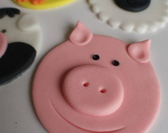 12 x Farm animal cupcake toppers