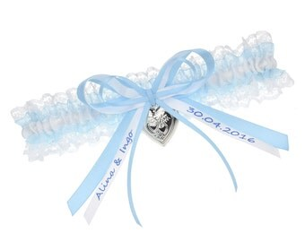 Garter belt light blue wedding - personalized
