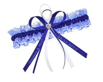 Bridal garter blue and white lace and satin - individualisable