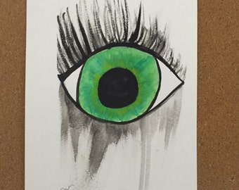 Green Tear Stained Eye Watercolor
