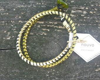 Double Wrap Leather Bracelet - Green Ombré//Bronze
