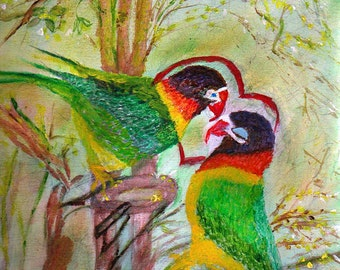 Parakeet in love