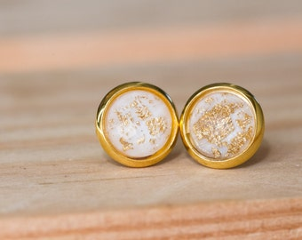 8mm White and Gold Cabochon Earrings- BLANCHE