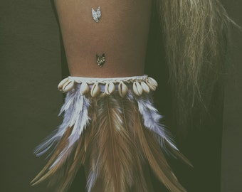 TWO IN ONE! Bohemian bracelet and choker with feathers