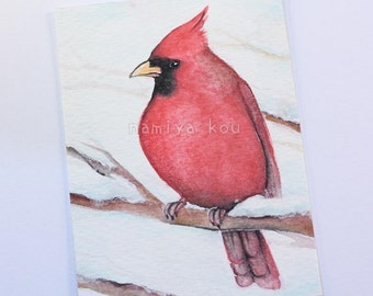 Original ACEO Card, Cardinal Bird Art, Wildlife Winter Bird Illustration, Watercolor Painting, Hand Drawn ATC, Nature Kakaokarte