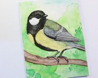 Original ACEO Card, Great Tit, Chickadee Bird Artwork, Watercolor Painting, Parus Major, Hand Drawn Nature ATC