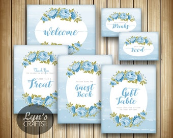 Floral Baby Shower Table Signs // 6 Printable Signs // Flower Baby Shower // Instant Download // Baby Boy Shower