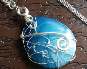 Gorgeous Blue Agate Pendant