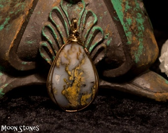 Graveyard Point Plume Agate Wire Wrapped Pendant