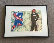 Captain America and The Red Skull framed pixel bead art 30x40cm (Perler Beads & Hama Beads) Marvel Nintendo Retro Gaming
