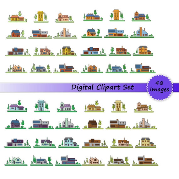 DIGITAL CLIP ART Set Building Instant Download Images Vector Clipart Graphics For Commercial