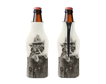 Cat Smoking Zipper Style Beer Bottle Coozies / bottle beverage insulator , Cozies (KB-021)