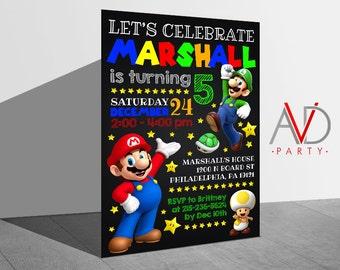 Mario Chalkboard Birthday Invitation, Mario Birthday, Mario Invitation, Mario Invitation, Birthday Invitation, Super Mario Party