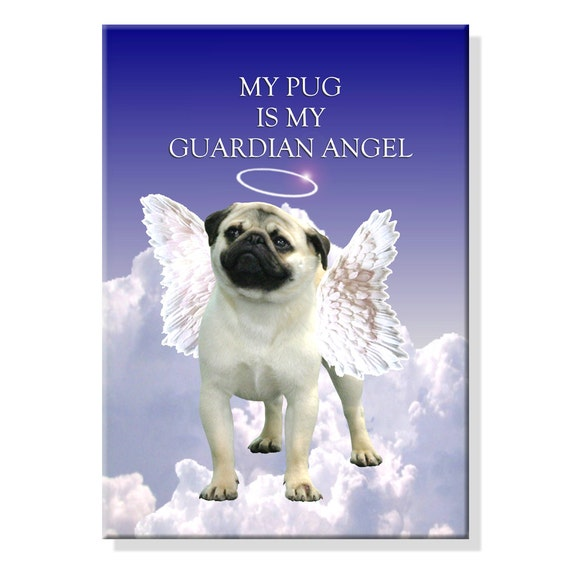 Pug Guardian Angel Fridge Magnet No 1 Fawn