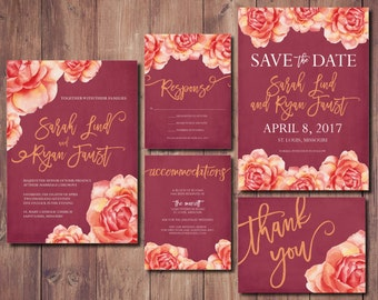 Country Wedding Invitation Suite, Fall Wedding Invitation Suite, Fall Wedding Invite, Rustic Wedding Invitation Kit, Printable Invitation